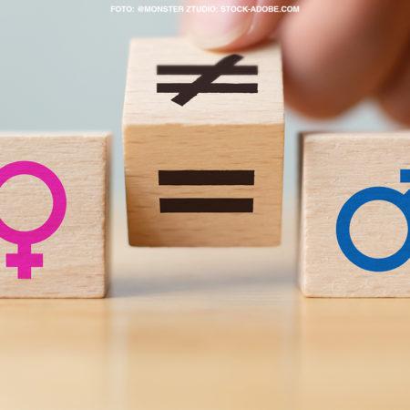 Zwei Bauklötze mit dem Symbol für Mann und Frau und in der Mitte ein Bauklotz mit einem Gleichzeichen und einem Ungleichzeichen. Es soll aufgezeigt werden, dass es noch immer viel Ungleichheit zwischen Männern und Frauen gibt.
