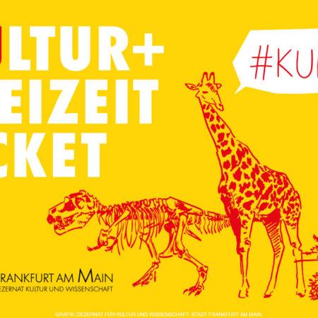 Grafik mit dem Schriftzug Kultur+Freizeit-Ticket und #KUFTI mit einem Dinosaurierskelett, einer Giraffe und Goethe, Grafik vom Kulturdezernat
