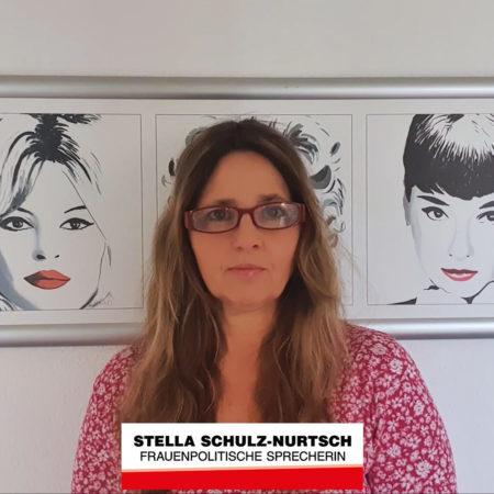 Die Corona-Pandemie - Eine Krise der Frauen. Standbild eines Videos, in dem die Stadtverordnete Stella Schulz-Nurtsch darüber spricht, dass die Lebensumstände der Frauen mehr Beachtung und Anerkennung brauchen. Die Corona-Krise sollte als Chance gesehen werden, um endlich echte Gleichberechtigung herzustellen.