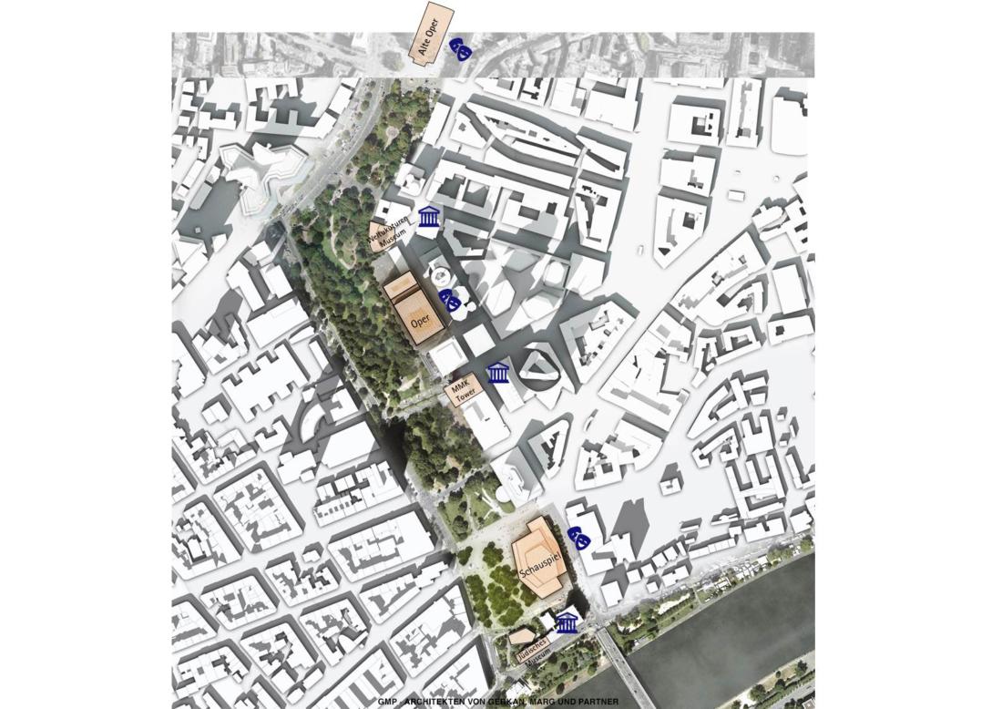 Zu sehen ist der Lageplan der neuen Kulturmeile, wo unter anderem die Neubauten der Oper und des Schauspiels in Frankfurt entstehen könnten.