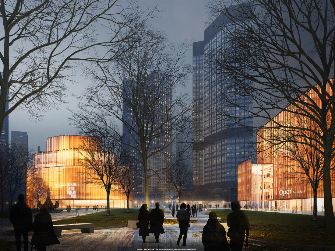 Grafische Ansicht des Willy-Brandt-Platzes mit den beleuchteten Neubauten der Oper und dem Schauspiel bei Nacht.