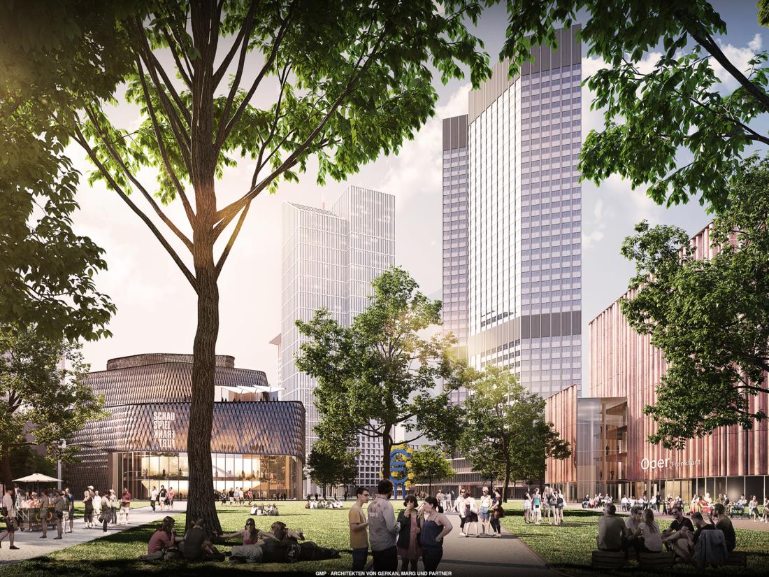 Grafische Ansicht des Willy-Brandt-Platzes mit den beleuchteten Neubauten der Oper und dem Schauspiel am Tag.