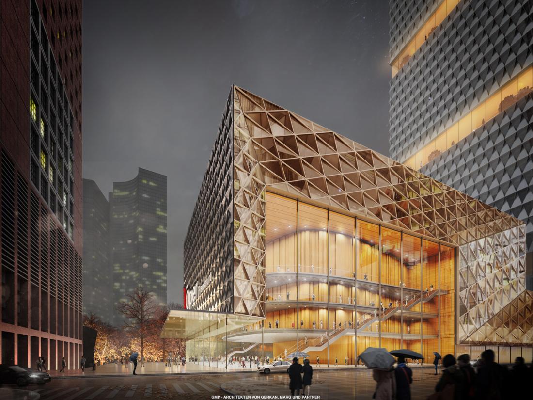 Grafischer Entwurf des Neubaus der Oper auf der neuen Mainzer Straße in Frankfurt.