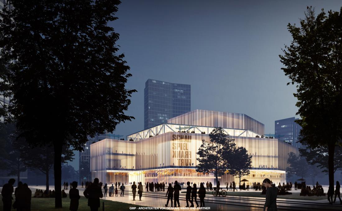 Grafischer Entwurf des beleuchteten Neubaus des Schauspiels am Willy-Brandt-Platz in Frankfurt bei Nacht.