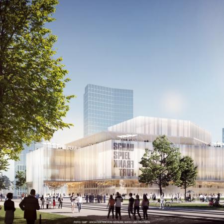 Grafischer Entwurf des Neubaus des Schauspiels am Willy-Brandt-Platz in Frankfurt am Tag.
