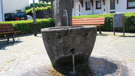 Nieder-Erlenbach Brunnen mit historischem Taufbecken