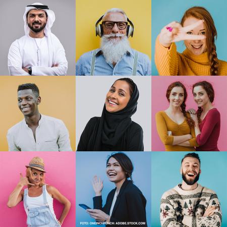 Verschiedene Menschen mit unterschiedlichem Migrationshintergrund