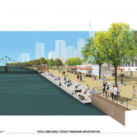 Vision Mainkai, wie er aussehen könnte: Park mit Sitzstufen am Wasser